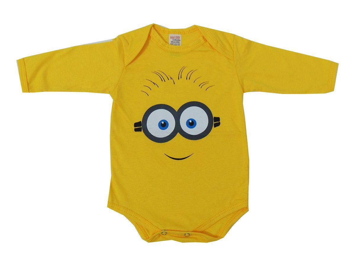 Body Manga Longa Bebê Minions