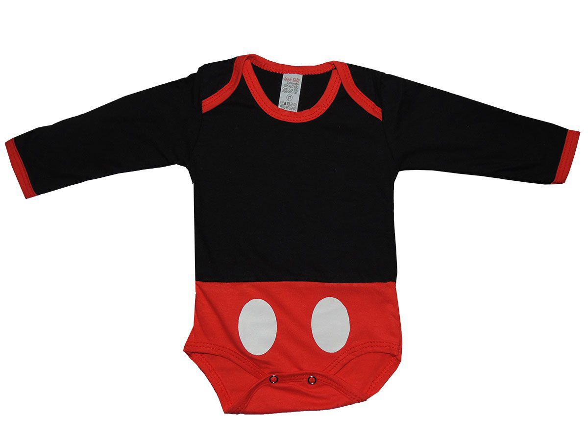 Body Manga Longa Mickey Mouse