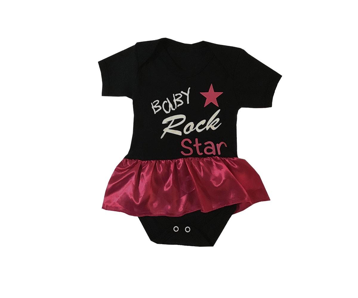 Body Para Bebê Baby Rock Star Com Saia