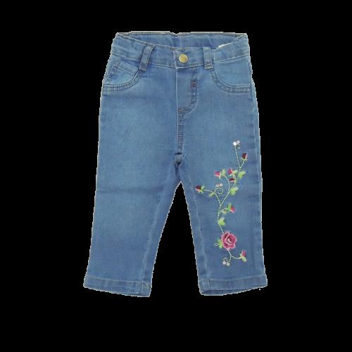 Calça Jeans Bebê Menina Din Don Bordados Floral