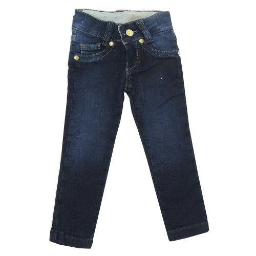 Calça Jeans Infantil Menina Bordada nos Bolsos Traseiros