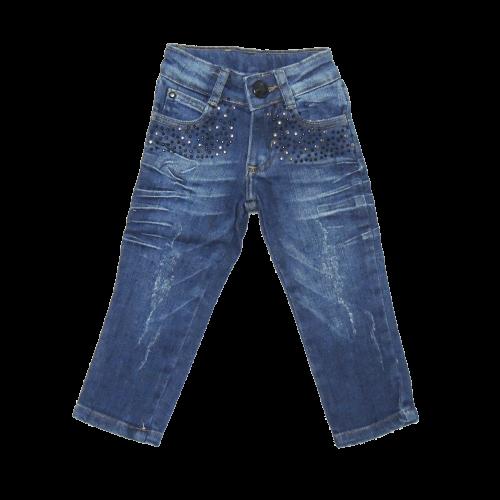 Calça Jeans Infantil Menina com Aplique nos Bolsos