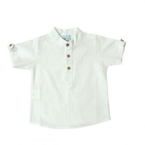 Camisa Branca Manga Curta Gijo Baby