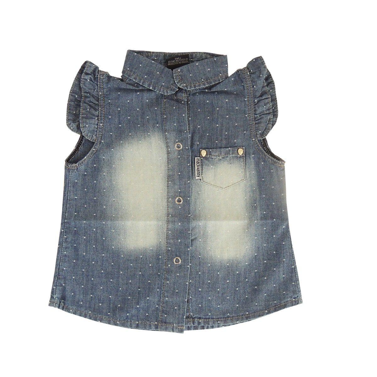 Camisa Infantil Feminina Manga Curta Jeans