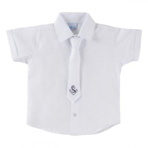 Camisa Infantil M/C Branca com Gravata