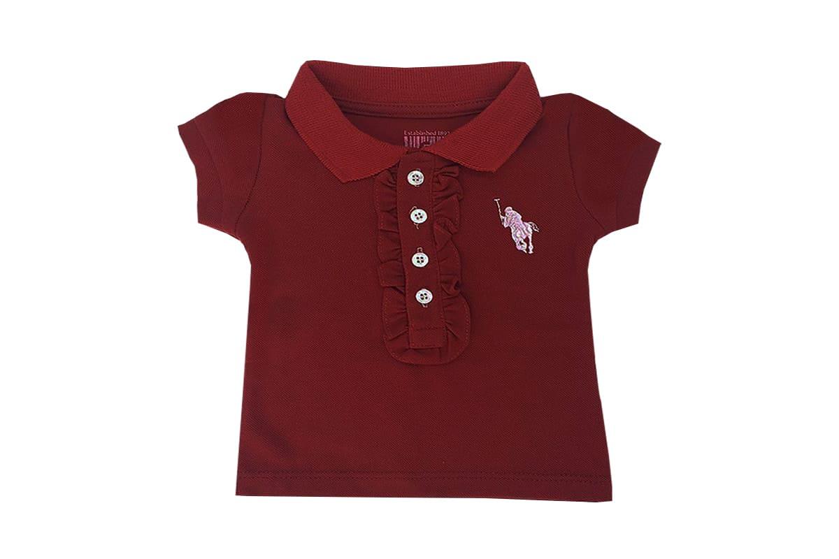 Camisa Infantil Menina Vermelha Polo