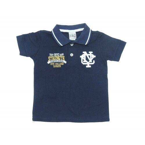 Camisa Infantil Polo com Aplique Bordado
