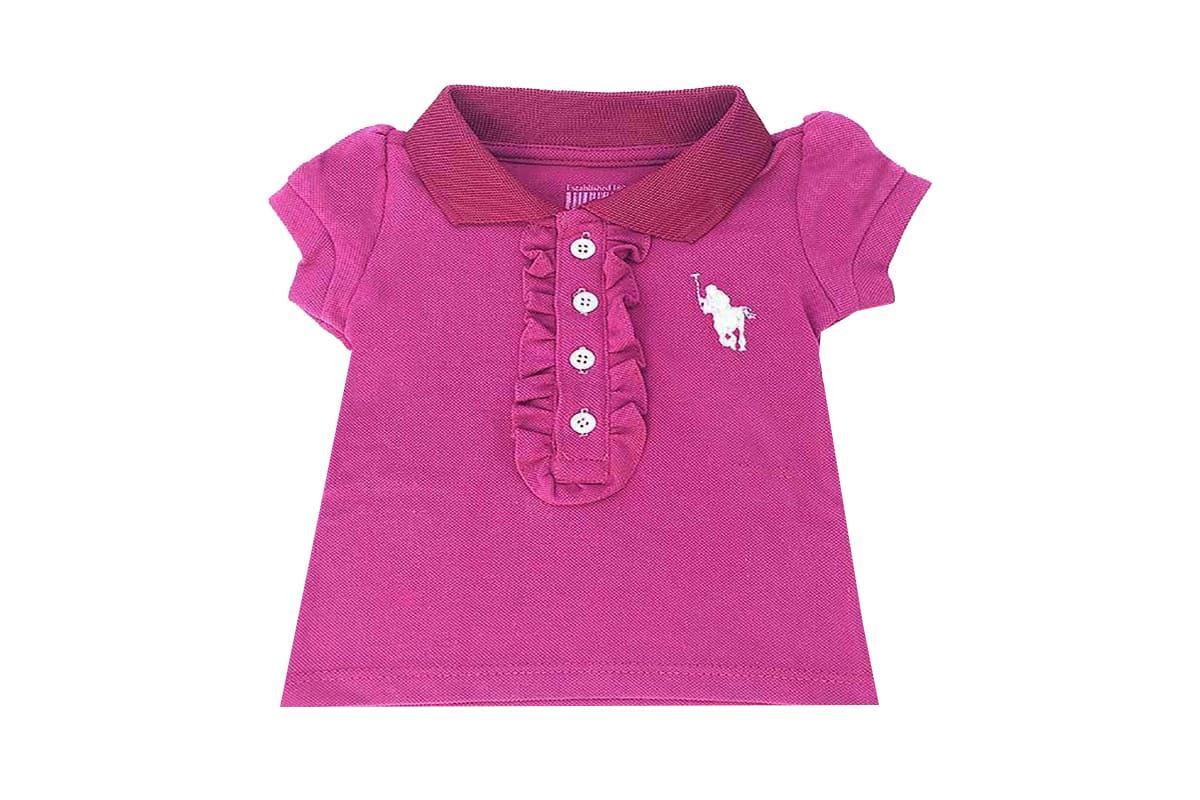 Camisa Infantil Polo Feminina com Babado Rosa