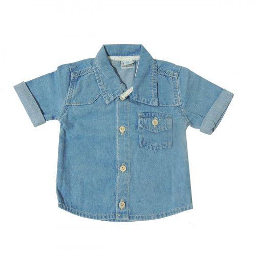 Camisa Jeans Azul Clara Manga Curta Baby Gijo
