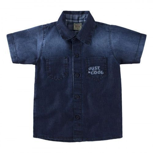 Camisa Jeans Manga Curta Bebê Clube do Doce