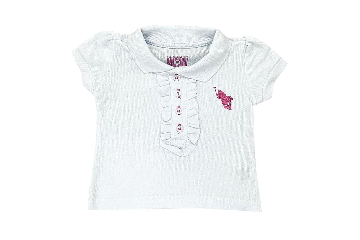 Camisa Polo Feminina com Babado Branca
