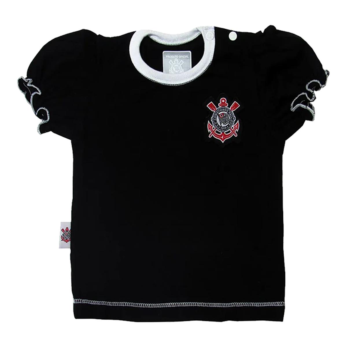 Camiseta Baby Look Bebê Menina Corinthians Oficial