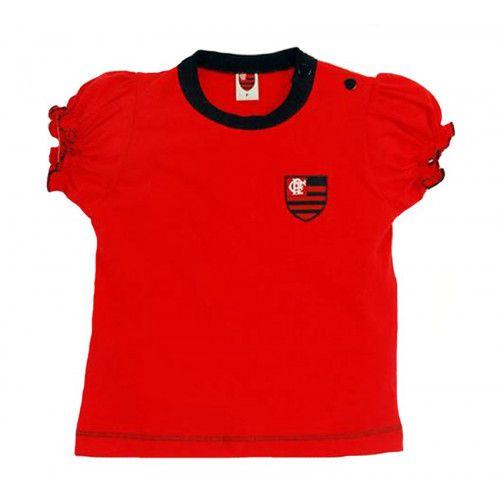 Camiseta Baby Look Bebê Menina Flamengo Oficial