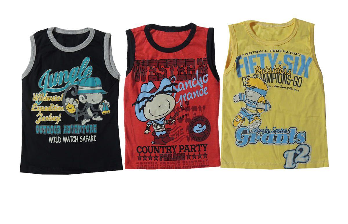 Camiseta Bebê Regata 3 Peças Estampa e Cores Sortidas