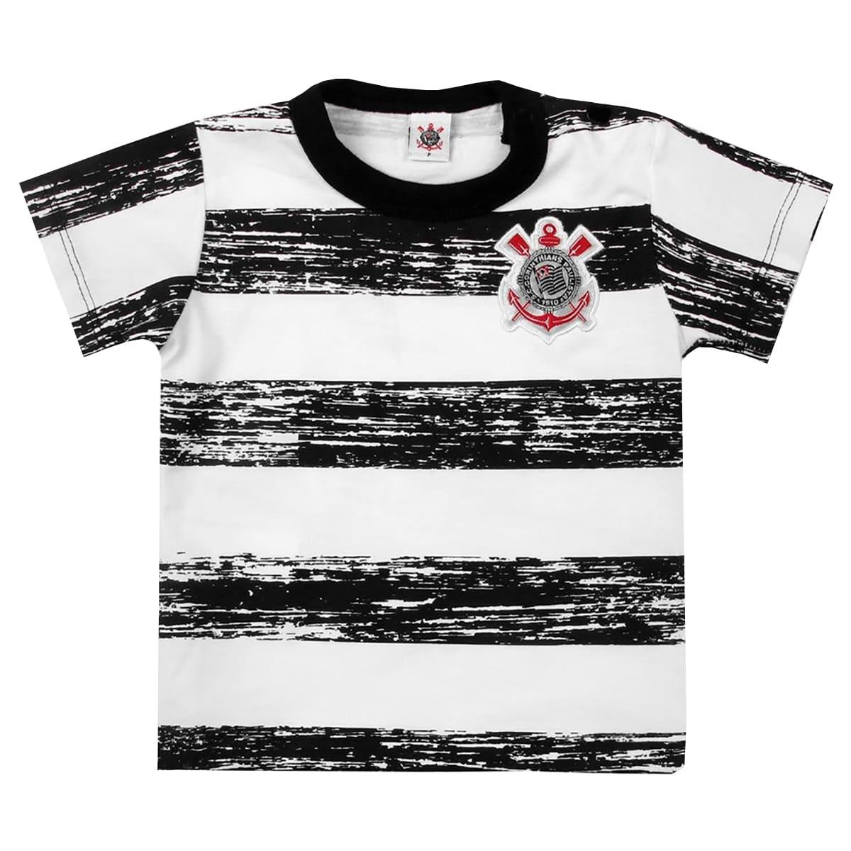 Camiseta de Bebê Corinthians Listrada