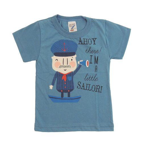 Camiseta Infantil Estampada P. Passos Marinheiro Azul