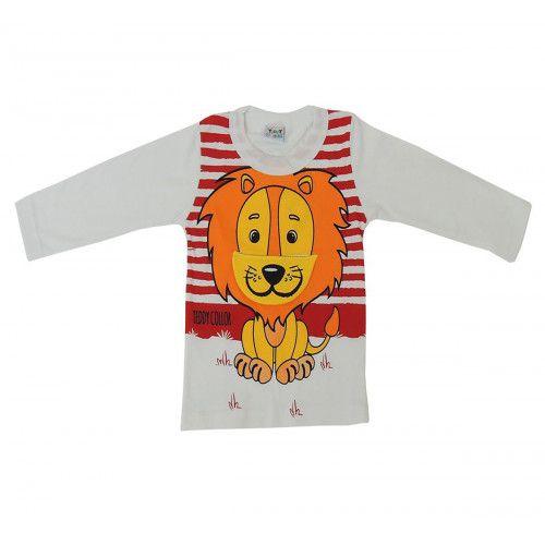 Camiseta Infantil Manga Longa com Estampa de Leão