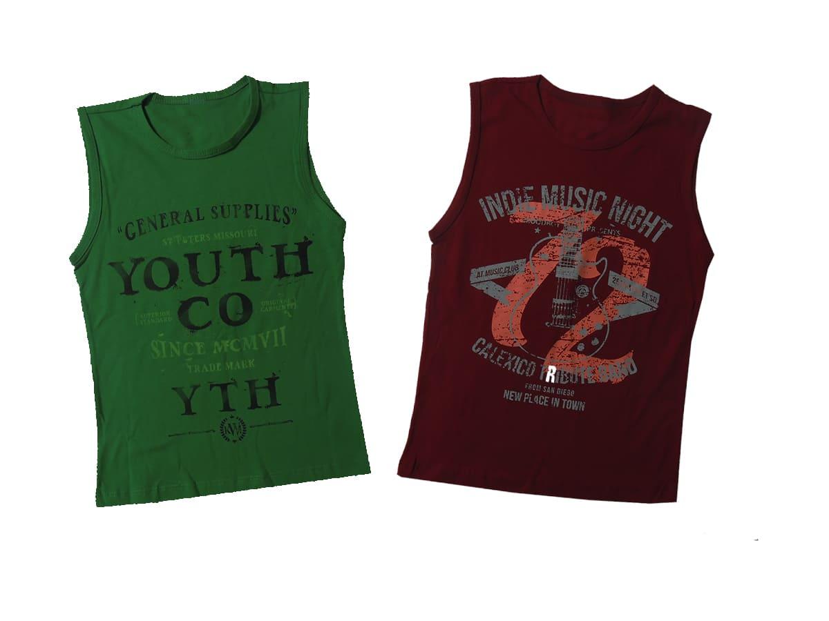 Camiseta Infantil Regata 2 Peças Estampa e Cores Sortidas