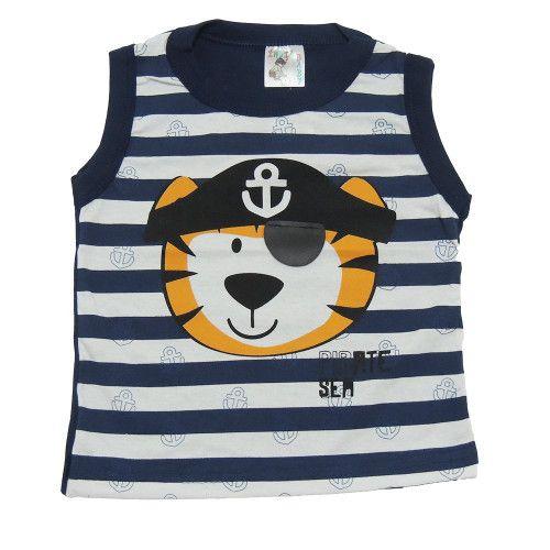 Camiseta Infantil Regata Listrada Tigre Pirata