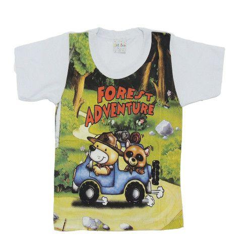 Camiseta M/C Infantil com Estampa bichos Super Divertidas