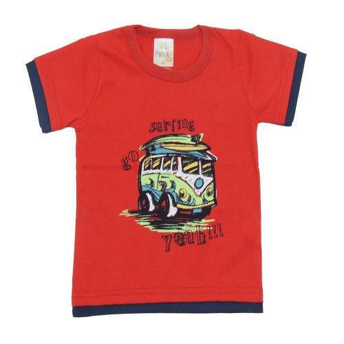 Camiseta Manga Curta Infantil com Estampa de Surf