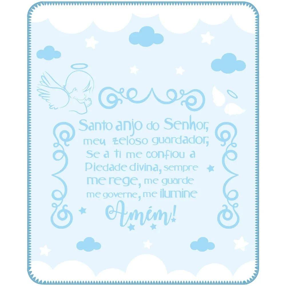 Cobertor Bebê Menino Anjo da Guarda - Azul - Azul