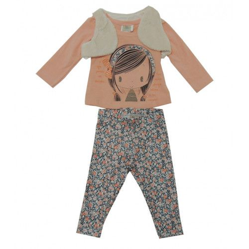 Conjunto Bebê Blusa M/L e Calça Leggings e Colete