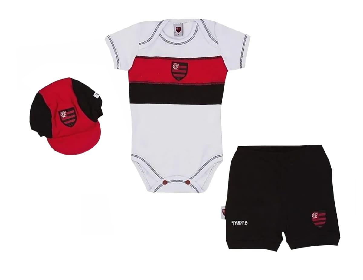 Conjunto Bebê Body com Shorts e Boné Flamengo