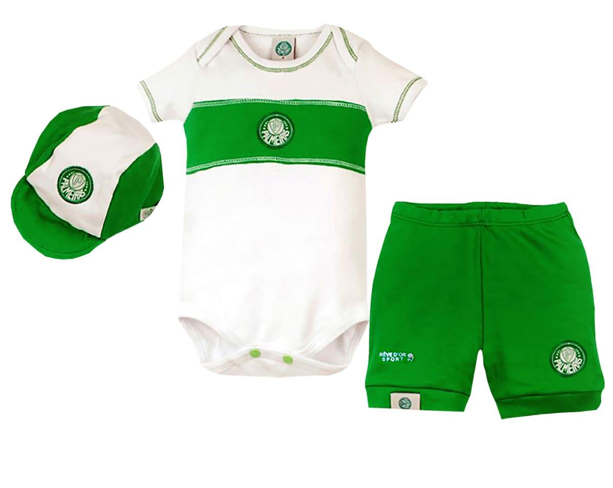 Conjunto Bebê Body com Shorts e Boné Palmeiras