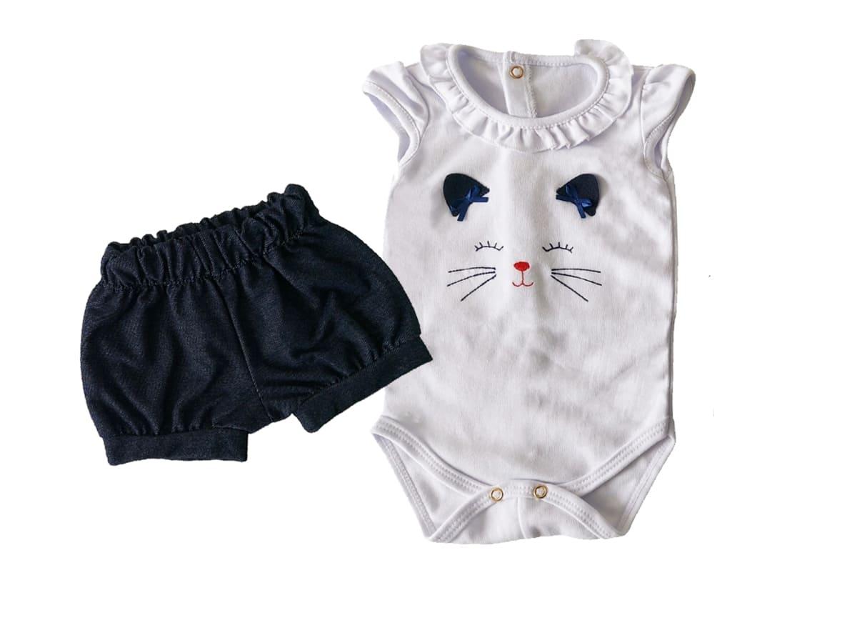 Conjunto Body Bebê e Shorts Gatinha