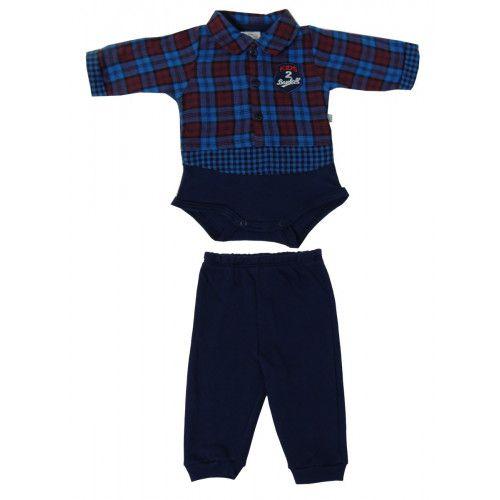 Conjunto Body Bebê Xadrez Bordado e Calça Suedine