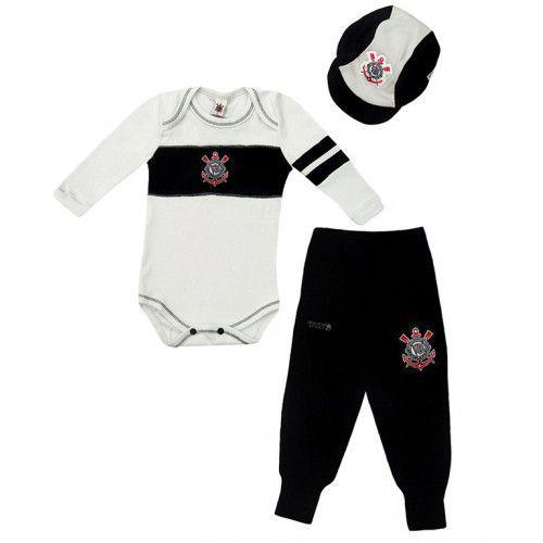 Conjunto Body Calça e Boné Bebê do Corinthians Unissex