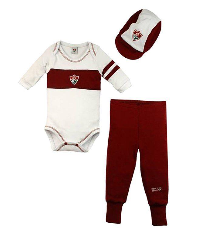 Conjunto Body Calça e Boné Bebê do Fluminense - Unissex