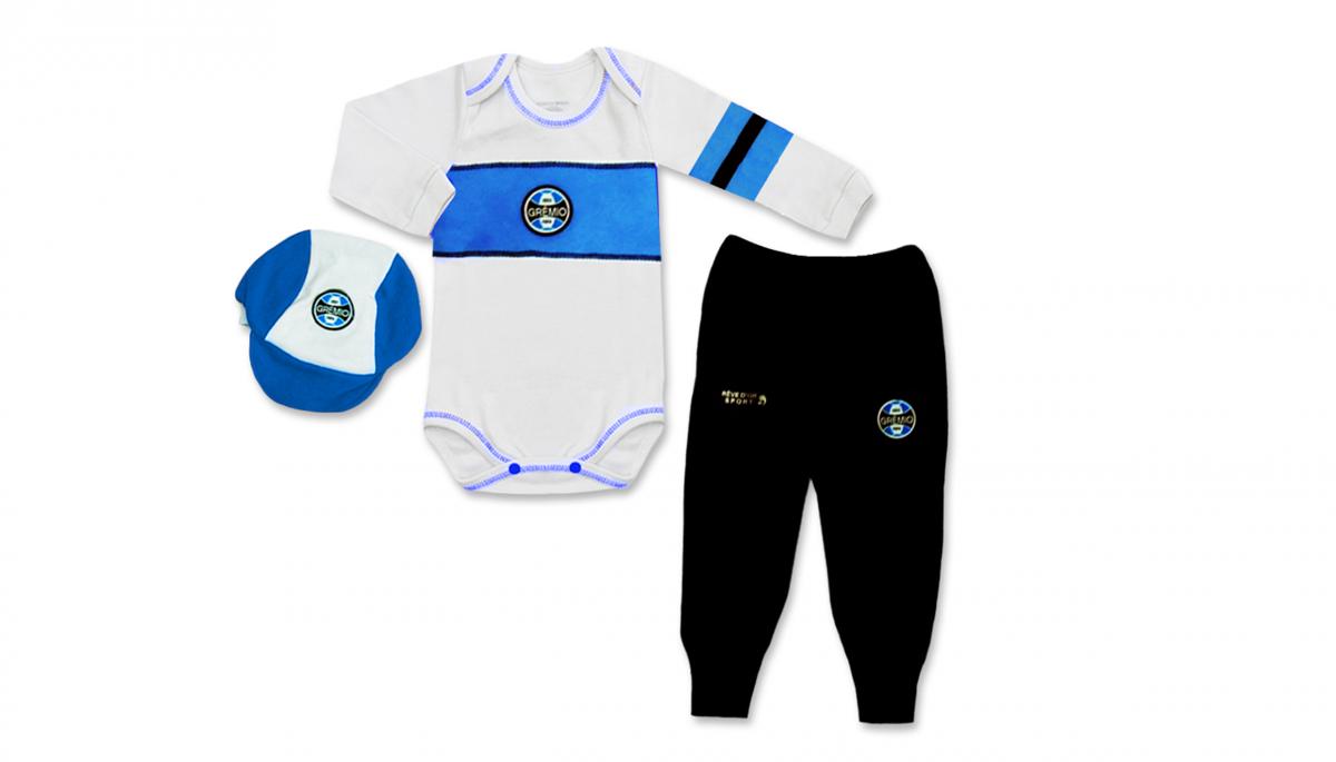 Conjunto Body Calça e Boné Bebê do Grêmio - Unissex