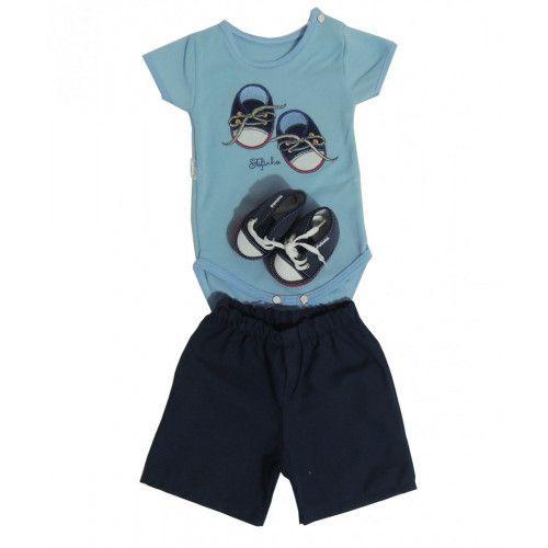 Conjunto 3 Pçs Body Shorts e Tênis Bebê Menino