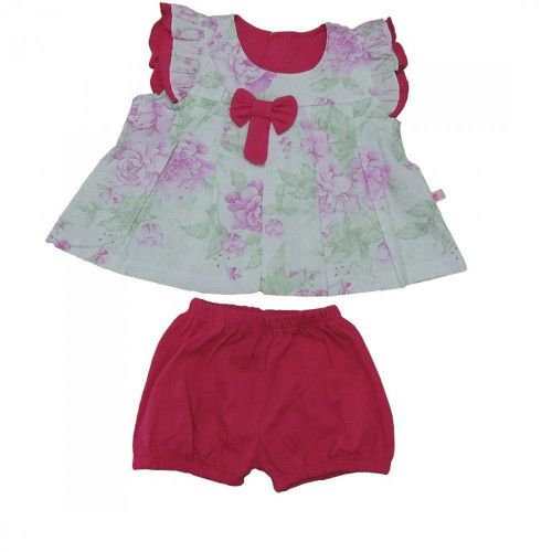 Conjunto Curto Bata e Shorts Bebê Menina