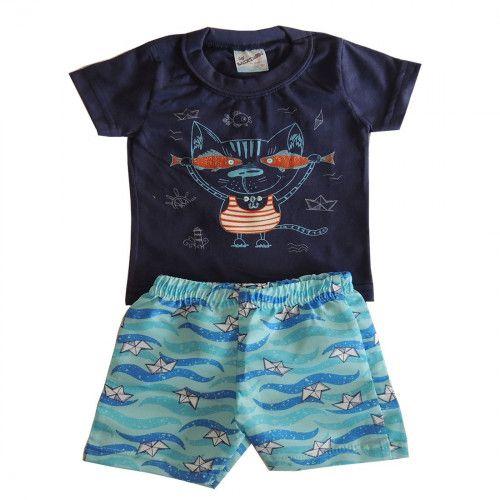 Conjunto Curto Bebê Camiseta e Bermuda Gato