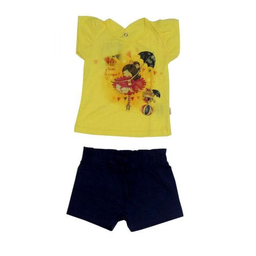 Conjunto Curto Bebê Menina Blusa e Shorts Bailarina