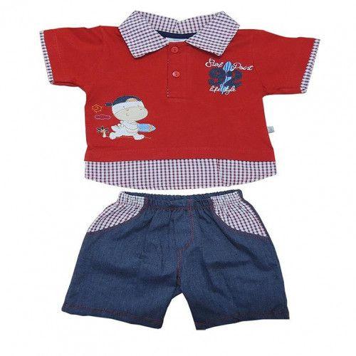 Conjunto Curto Bebê Menino Camisa e Shorts