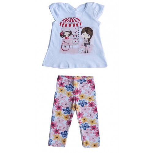 Conjunto Curto Blusa e Calça Capri Infantil Menina