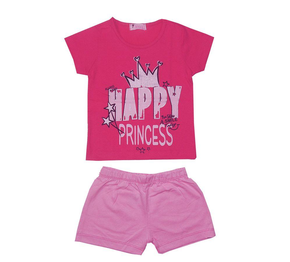 Conjunto Curto Feminino Infantil Happy Princess