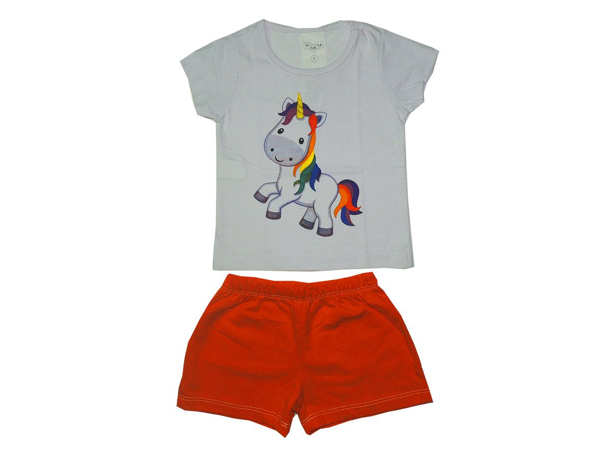 Conjunto Curto Feminino Infantil Unicornio