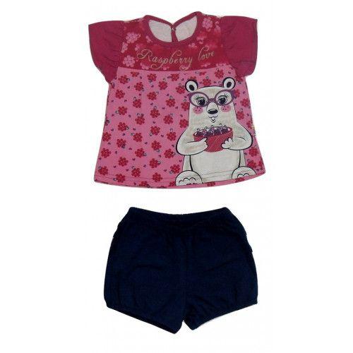 Conjunto Curto Menina Infantil Blusa e Shorts Ursinho