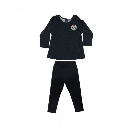 Conjunto Infantil Blusa de Urso e Calça Leggings
