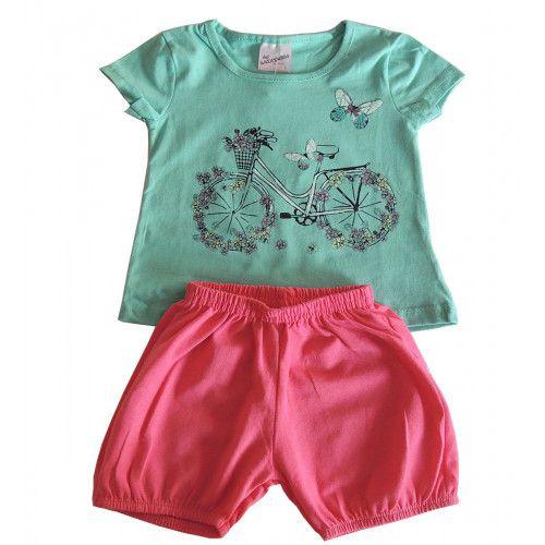 Conjunto Infantil Blusa e Shorts Borboletas