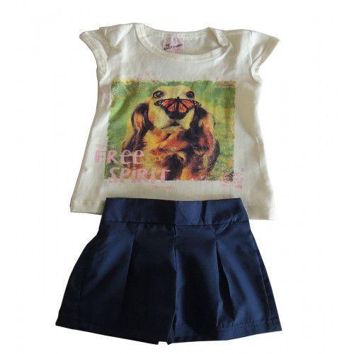 Conjunto Infantil Blusinha Estampada e Shorts Saia