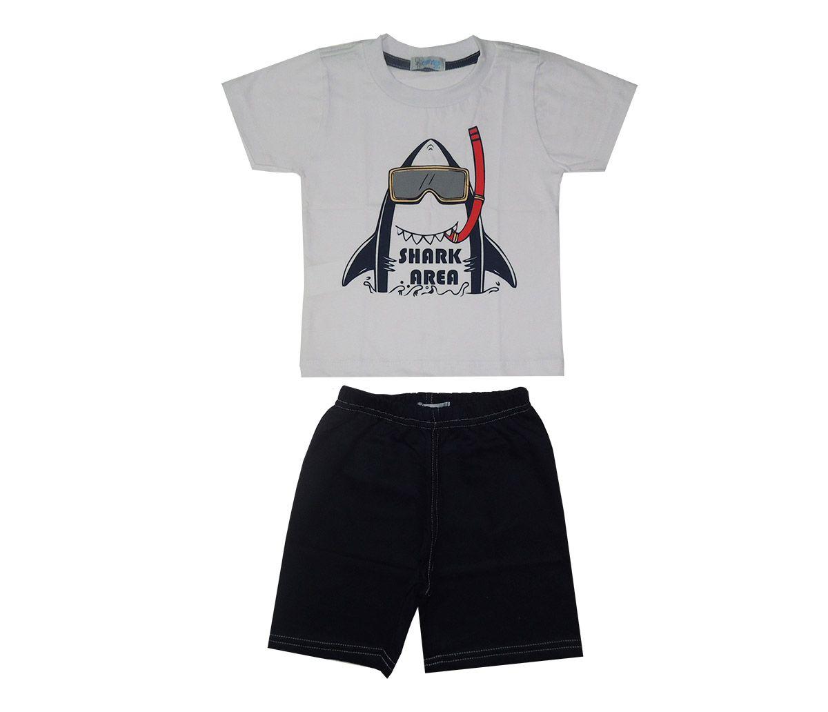 Conjunto Infantil Camiseta Branca tubarão e Bermuda