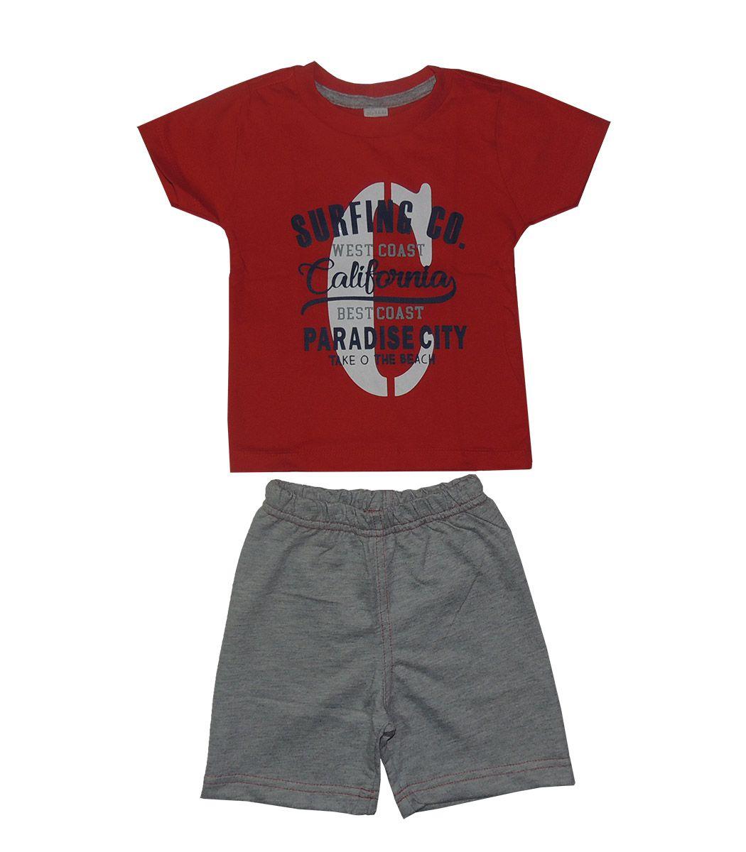 Conjunto Infantil Camiseta Califórnia Vermelho e Bermuda
