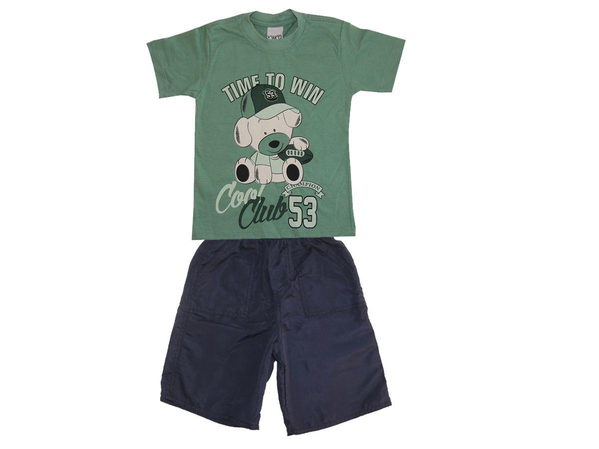 Conjunto Infantil Camiseta e Bermuda Tactel Sortidas