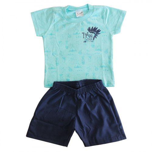 Conjunto Infantil Camiseta Estampada e Bermuda